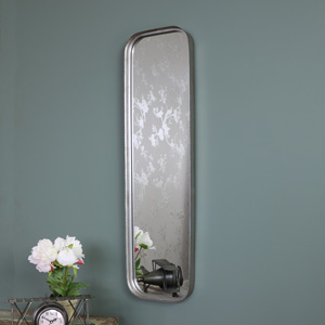 Slim Grey Industrial Style Metal Wall Mirror