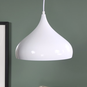 White Metal Dome Pendant Ceiling Light Fitting