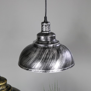 Stylish Industrial Silver/Black Dome Ceiling Pendant Light