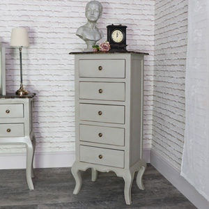Tall Vintage Grey Tallboy Chest of Drawers - Leadbury Range