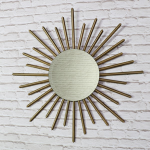 Large Gold Metal Sunburst Wall Mirror