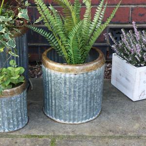 Round Grey Metal Industrial Style Planter