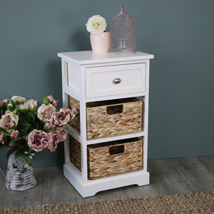 Cream Wood & Wicker 3 Drawer Basket Storage Unit - Hereford Cream Range
