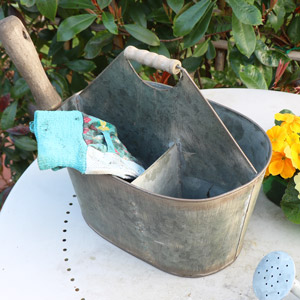Rustic Grey Metal Garden Carrier