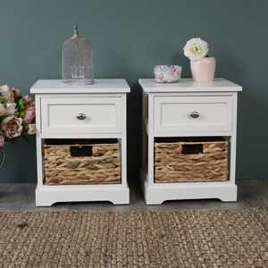 Pair Of Cream Wood & Wicker Vintage Style Basket Storage Units - Hereford Cream Range