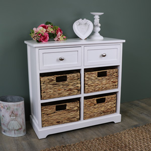 White Wood & Wicker 6 Drawer Basket Storage Unit - Salford White Range