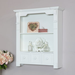 White Wooden Wall Unit with Drawer Storage