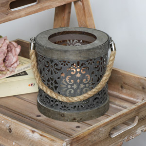 Rustic Grey Metal Candle Lantern