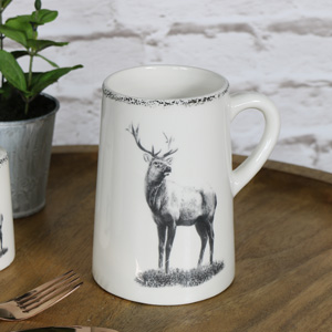 Large Cream Ceramic Highland Stag Mug