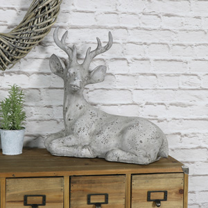 Large Grey Stone Effect Resting Stag Ornament