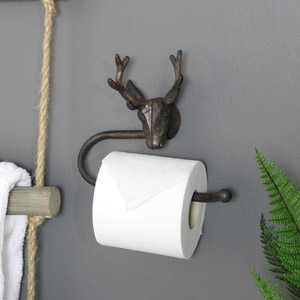Rustic Stag Head Toilet Roll Holder
