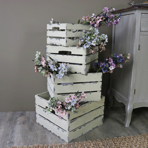 Set of Four Rustic Wooden Storage Box Crates