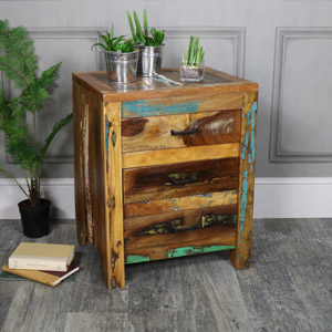 Rustic Reclaimed Wood 3 Drawer Bedside Chest