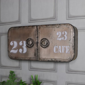 Industrial Nautical Metal Wall Cabinet