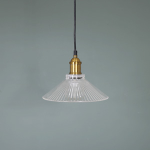 Clear Ribbed Glass Indusistrial Ceiling Light
