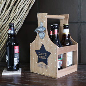 Rustic Wooden 'Dad's Beer' Wooden Bottle Holder Trug