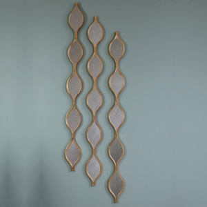 Three Tall Decorative Antique Gold Ripple Wall Mirrors