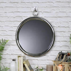 Round Polished Silver Wall Mirror 30cm x 38cm