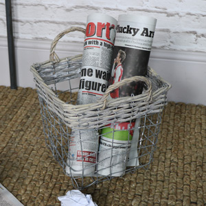 Small Wicker & Metal Storage Basket