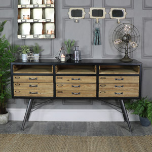 Large Rustic Retro Industrial 6 Drawer Sideboard