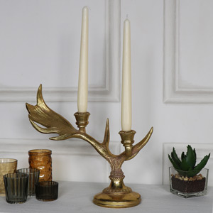 Ornate Gold Stag Antler Candlestick