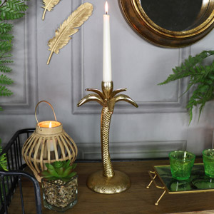 Gold Metal Palm Tree Candlestick