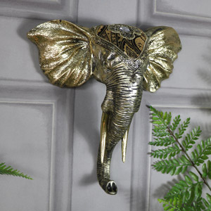Ornate Wall Mounted Gold Elephant Head