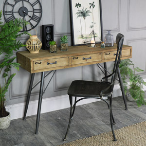 Large Rustic Industrial Three Drawer Desk