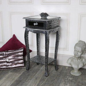 Silver Embossed Mirrored 1 Drawer Slim Bedside Table - Monique Range