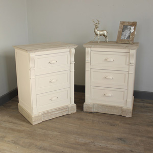 Furniture Bundle, Pair of Cream Three Drawer Bedside Table - Lyon Range