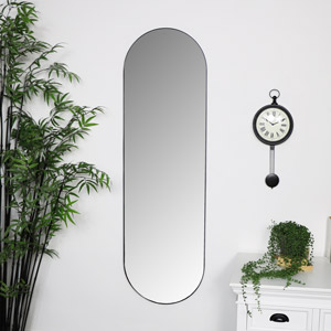 Black Oval Wall Mirror 40cm x 140cm