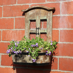 Rustic Wooden Wall Trough Planter