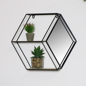 Black Hexagon Wall Shelf - Diamond Mirror