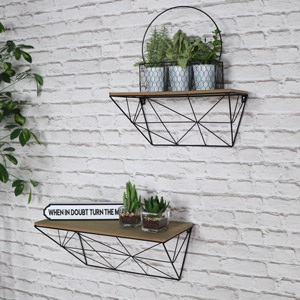 Pair of Vintage Retro Wall Mounted Shelves