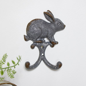 Rustic Metal Rabbit Wall Mounted Coat Hook