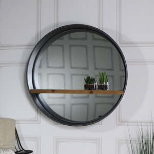 Retro Range - Round Mirror with Shelf