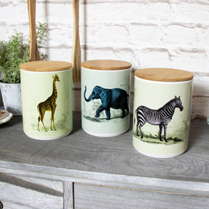 Set of 3 Safari Storage Jars