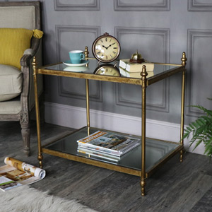 Large Rectangle Antique Gold Mirrored Side Table