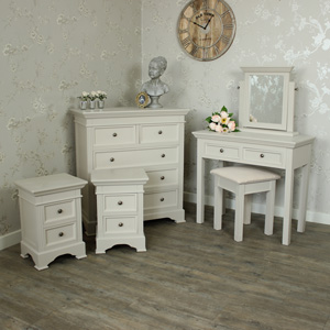 Grey Bedroom Furniture Set, Chest Of Drawers, Dressing Table Set and Pair of Bedsides - Daventry Grey Range