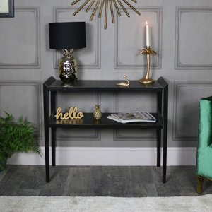 Black Rustic Wooden Console Table - Mika Range