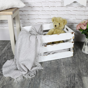 Large White Wooden Storage Crate
