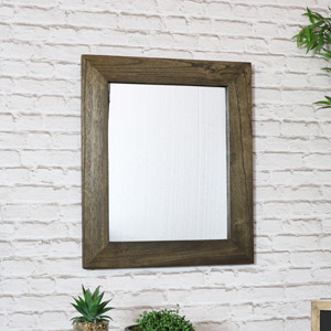 Rustic Dark Brown Wall Mirror 53cm x 63cm