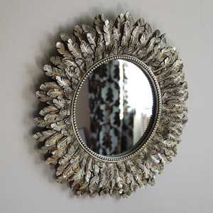 Antique Gold Feather Effect Wall Mirror 40cm x 40cm