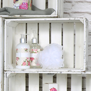 Small White Wooden Storage Crate