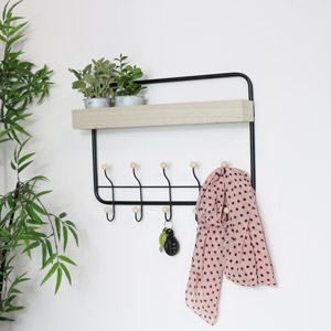 Black Metal & Wooden Shelf With Coat Hooks