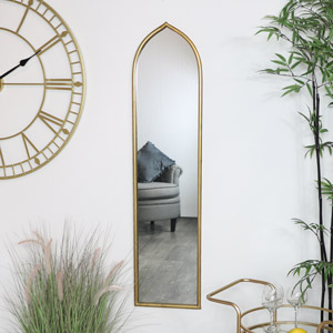 Tall Slim Gold Arch Mirror
