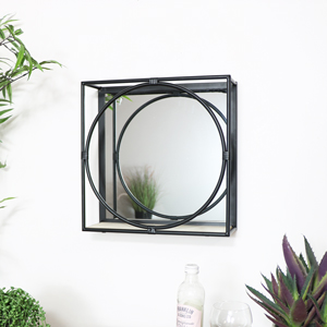 Black Framed Mirrored Shelf - Small