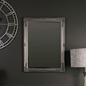 Vintage Ornate Silver Wall Mirror 62cm x 82cm
