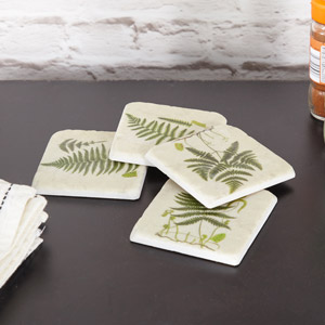 Set of 4 Green Fern Coasters