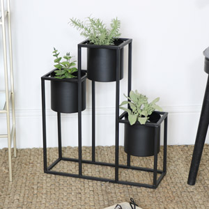 Black Metal Triple Planter